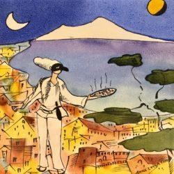 Pittura a terzo fuoco su mattonella Napoli